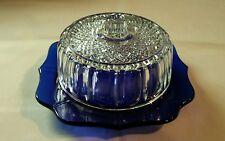 VTG Depression Glass Cobalt Blue Bottom Butter Dish Clear Lid Scalloped Edges