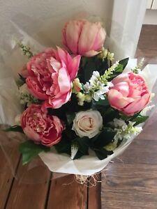 LARGE ARTIFICIAL FLOWERS ARRANGEMENT PEONIES ROSES BOUQUET IN VINTAGE METAL JUG
