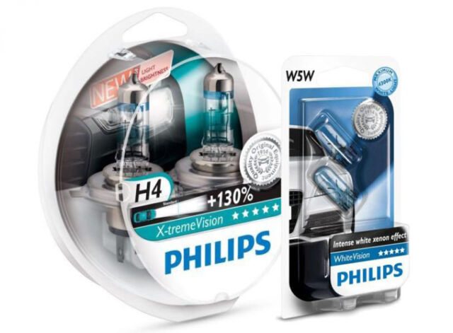 (+ W5W Parkers!) H4 PHILIPS Xtreme Vision 3400K 130+% Genuine White Light Bulbs