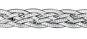 """Elements 7.5"""" 925 Polished Sterling Silver Multi-Strand Treccia Weave Bracelet"""