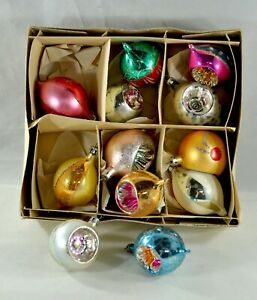 Vintage-Christmas-Ornament-Lot-of-Twelve-Made-in-Poland-Indents-Etc