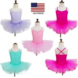 New Girls Gymnastic Ballet Leotard Tutu Dress Kid Ballerina Dance Outfit Costume