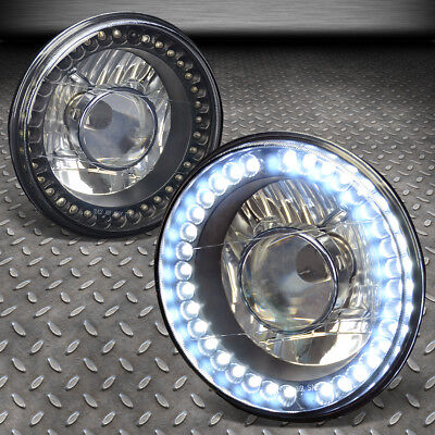 """FOR FORD MUSTANG JEEP 7/""""7X7 H6024 ROUND BLACK GLASS LENS PROJECTOR HEADLIGHTS"""