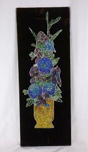 Vtg-Mid-Century-Gravel-Art-Wall-Hanging-Flowers-Vase-on-Brown-Velvet-12-034-x32-034