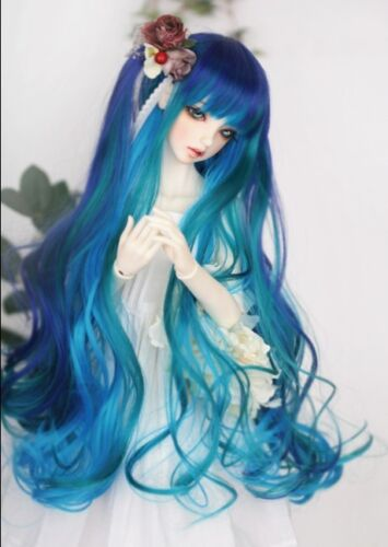 BJD Wig 1//3 22-24 SD DOC DOD Pullip Dal MSD dollfie Doll Blue Green mix wavy wig