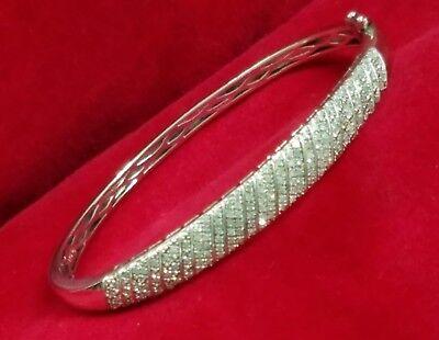 Sterling Silver 925 2.00ct Halo Sparkling Adjustable Tennis Bracelet