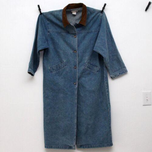 Id Blues Denim Trench Coat Suede Collar Womens Siz