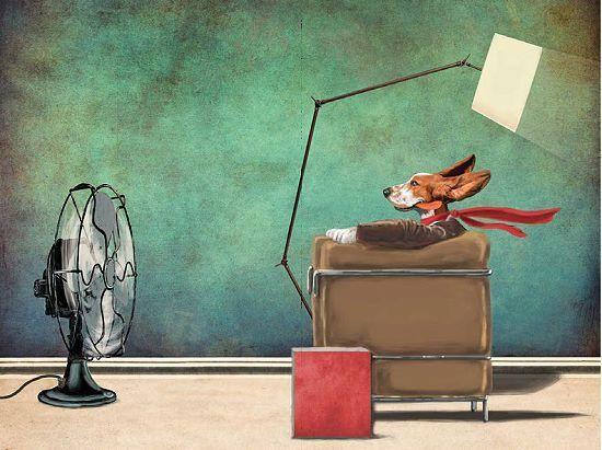 Etienne Betie  Racing Dog Keilrahmen-Bild Leinwand Hund Comic lustig