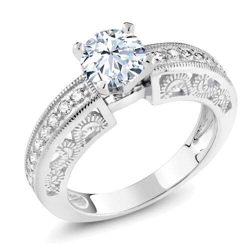 1.59 Ct Round Hearts And Arrows White Created Sapphire 925 Sterling Silver Ring