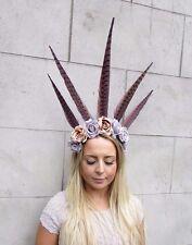 Festival Purple Feather Flower Headband Carnival Headdress Headpiece Rose 2985