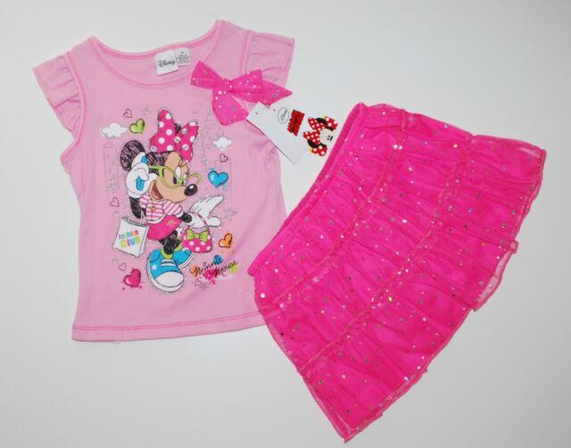 Minnie Maus~USA~116-122~T-Shirt+Rock~Kleid~Disney~Sommer~Mädchen~Kombi~Set~pink~
