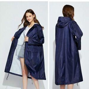Long Raincoat Waterproof Windproof Hooded Hiking Rain Coat Ponchos Jacket Cloak