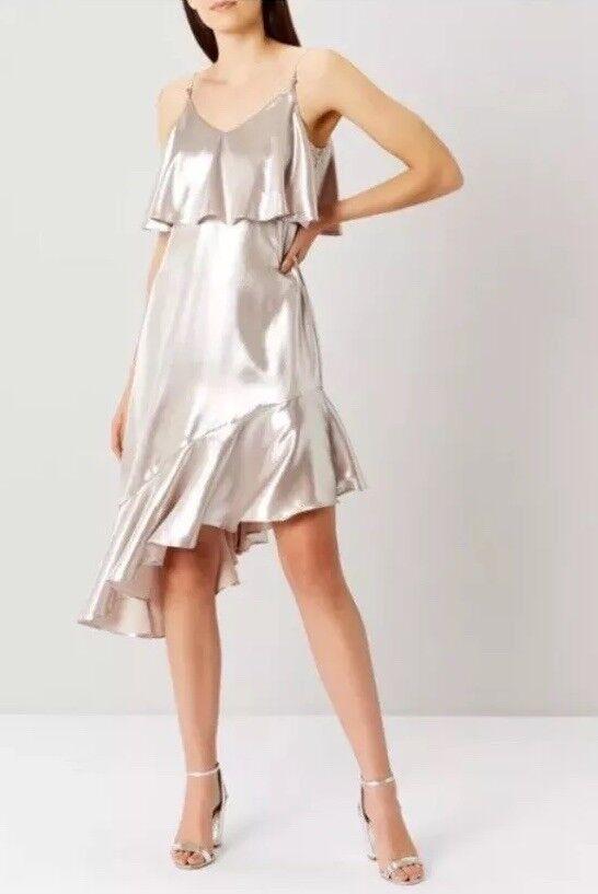 BNWT❤️Coast❤️ Größe 10 Belize Metallic Cami Dress, Rosa Gold, Elegant , New