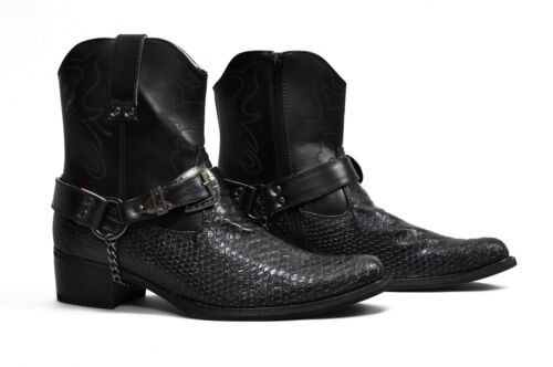 New Mens Gents Western Style Snake Skin Cowboys Ankle Boots Black Size 6-12