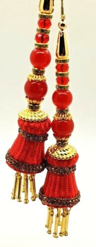 FASHIONABLE RED GOLDEN BELL SHAPE LATKAN TASSEL SAREE BLOUSE DUPATTA WEDDING