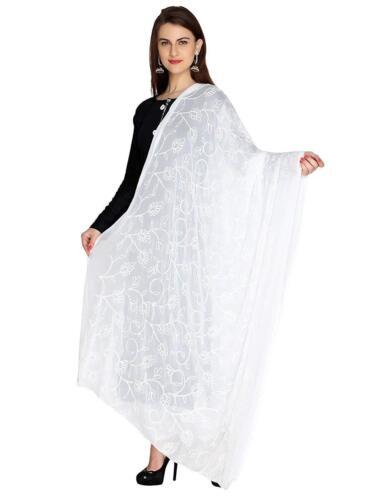 Dupatta Frauen Indian White Stola Chiffon Schal Fancy Wrap Party Wear