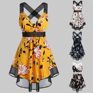 Women-039-s-V-Neck-Plus-Size-Floral-Print-Tunic-Tank-Top-Sleeveless-Shirts-Blouse