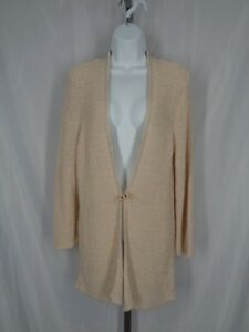 Laura-Ashley-Cardigan-Sweater-Size-Small-Beige-Tan-Long