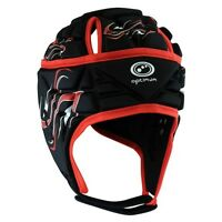 Optimum Inferno Rugby Headguard Scrum Cap Black Red