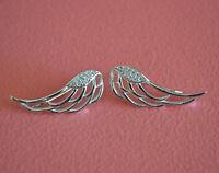 925 Sterling Silver Cz Angel Wings No Piercing Earring Clip On Ear Cuff