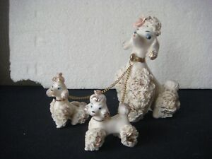 RRR RARE Vintage 3 Spaghetti WHITE Poodle Puppy Dogs Mom & Puppies