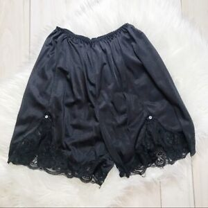 Vintage Nylon Black Granny Panties Bloomers Silky Sheer Frilly Lace Abinna
