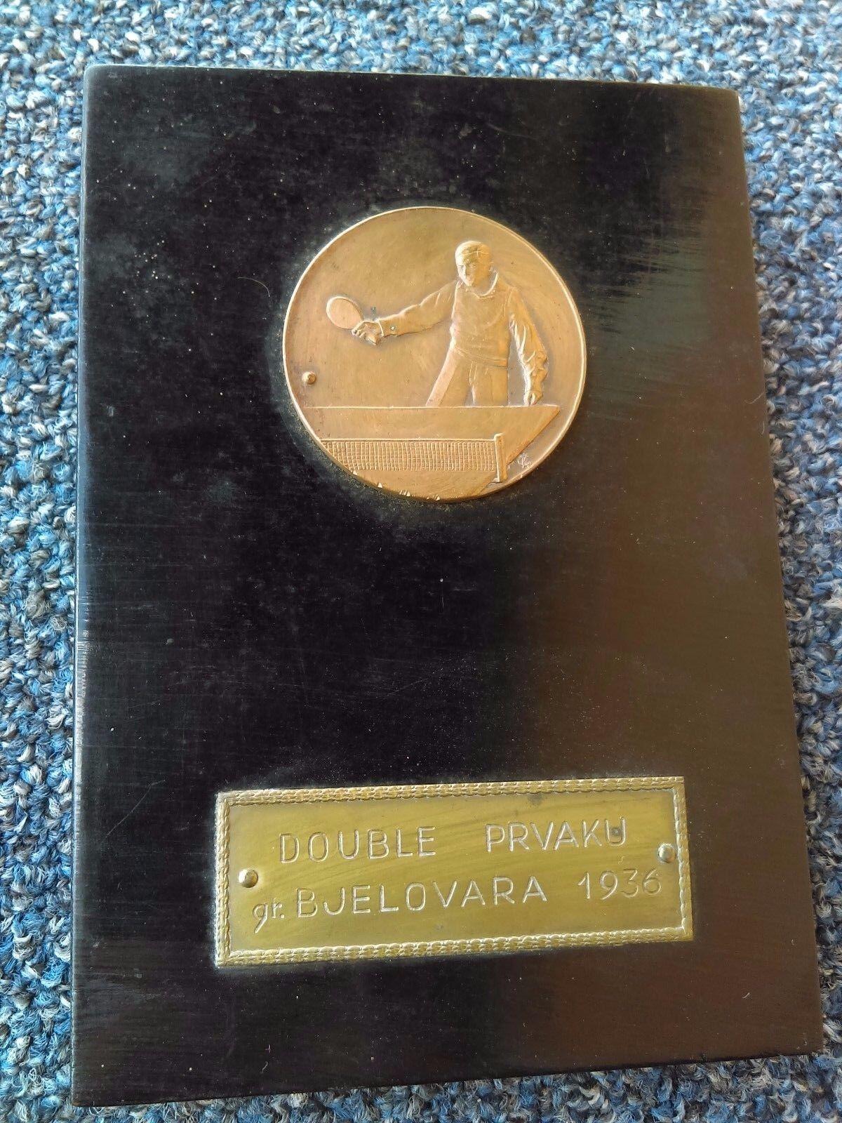 Table tennis 1936, Kingdom of Yugoslavia Croatia Bjelovar, vintage medal plaque