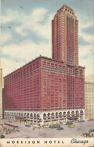 Chicago-ILLINOIS-Morrison-Hotel-ARCHITECTURE-1946-trolley-old-cars