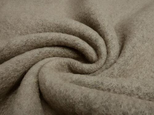 Kochwolle gekochte Wolle Walkloden beige braun uni Stoff Ital