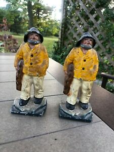 Antique-Cast-Iron-Painted-Littco-1920s-Fisherman-Bookends-Doorstop-Pair-2
