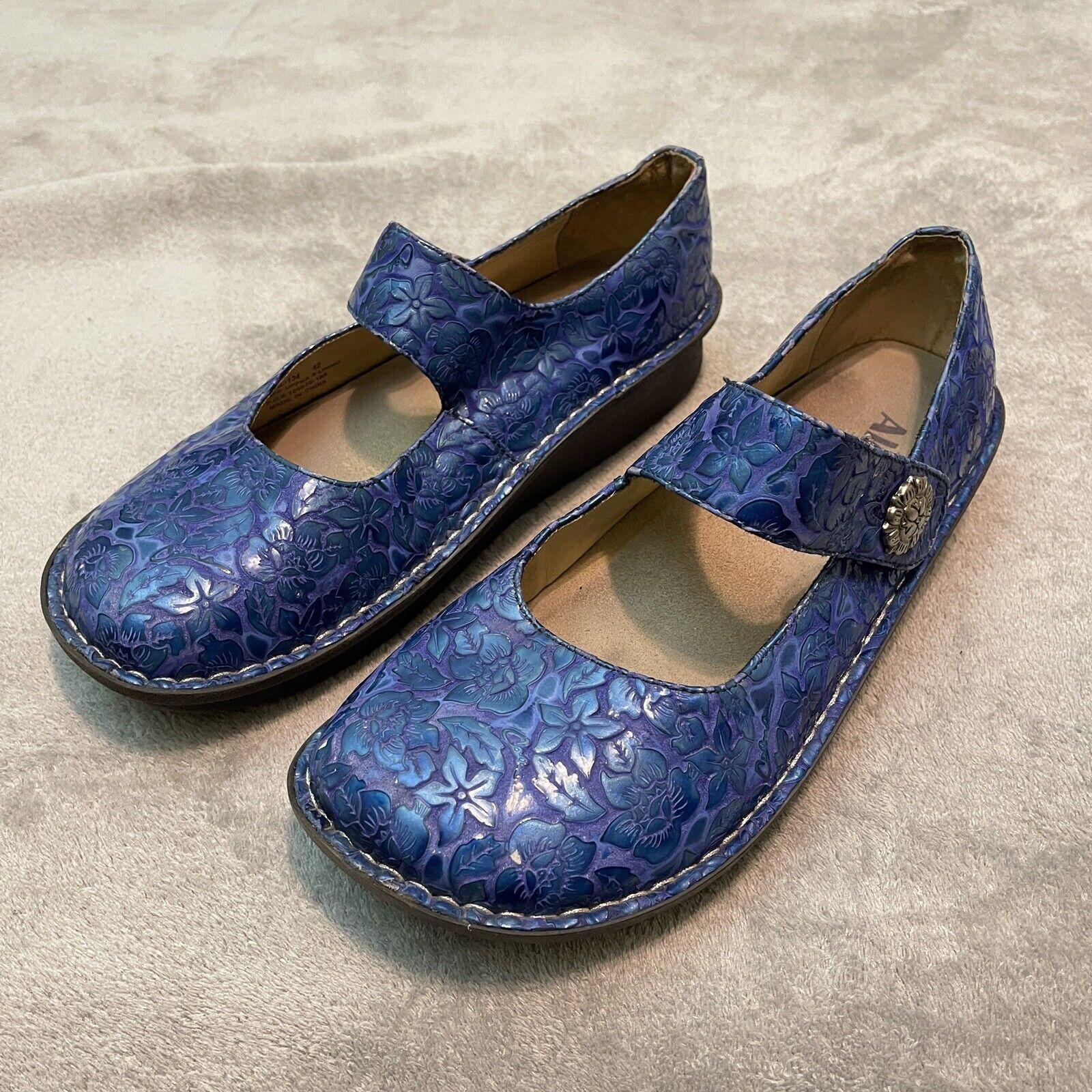 Alegria Mary Jane Size Euro 42 / US 11.5-12 PALOMA BLUE ETCHED PATENT Leather