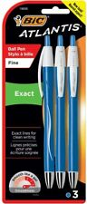 Bic Atlantis Exact Retractable Ballpoint Pens Fine Point 07mm Blue Ink 3 Ct