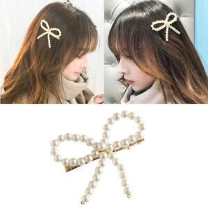 Women-Girls-Pearl-Bow-knot-Hair-Clip-Snap-Hair-Barrette-Stick-Hairpin-Hair-N-Tw