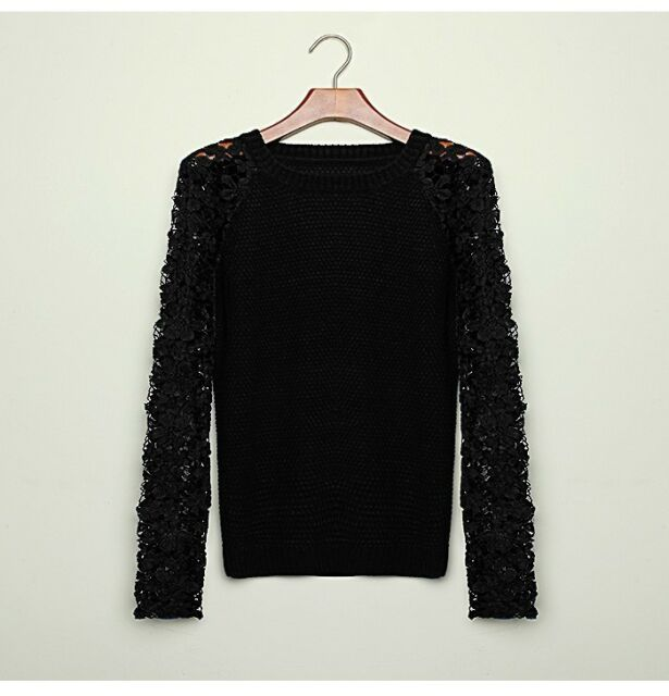 Sexy Hollow Casual Long Sleeve Patchwork Lace Pullover Knitted Sweater Top Women