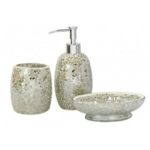 Image Is Loading Mercury Champagne Sparkle Mosaic Bathroom Set Soap Dispenser
