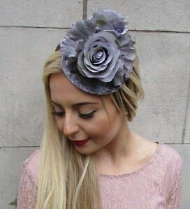 22de4c07e5e Image is loading Grey-Velvet-Rose-Flower-Fascinator-Races-Wedding-Pillbox-