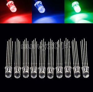 100/200/500/1000PCS 5mm 4pin RGB Tri-Color Common Anode LED light Red Green Blue