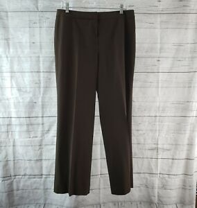 Lafayette-148-Womens-Menswear-Dress-Pants-Sz-10-Brown-Wool-Blend-Straight-Leg