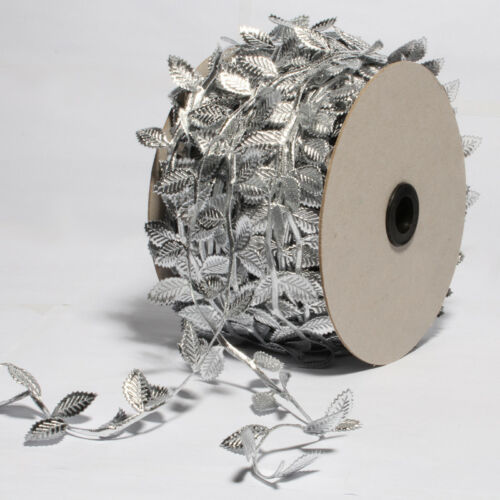 50Yards Silver Lace Leaf Trim Newborn Leaves Stretch Ribbons Wedding Decoration