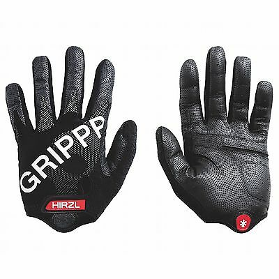 Hirzl Grippp Tour Full Finger MTB/XC/Mountain Bike Leather Gloves - Black/Grey