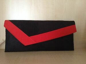 low price detailed pictures hot-selling genuine Details about BRIGHT RED & BLACK asymmetrical faux suede clutch bag.  Handmade in UK