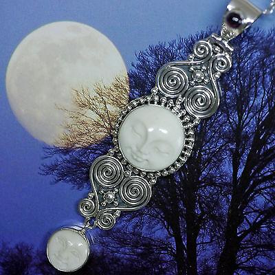 Einfach Magic Mond Kraftamulett Doppelspirale Granat 925 Silber Bein Handgeschmiedet