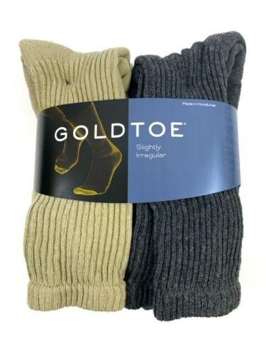 Gold Toe Men/'s Cotton Crew Sock Charcoal//Khaki 6 Pair Sock Size 10-13
