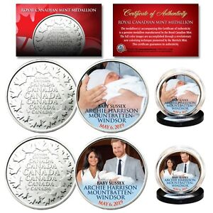 ROYAL-BABY-SUSSEX-ARCHIE-Harry-amp-Meghan-Markle-RCM-Medallion-Official-2-Coin-Set