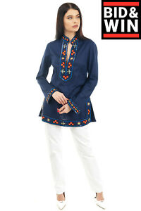 RRP-360-TORY-BURCH-Tunic-Top-Size-6-S-Embellished-Trim-Stand-Up-Collar