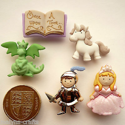 FAIRY TALE Craft Buttons 1ST CLASS POST Knight Princess Unicorn Baby DRESS IT UP