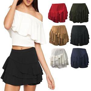 a2a53c315 Detalles de Nuevo para mujer llanura lado en Capas Volantes Volante Crepe  Rara Faldas Mini Faldas Pantalones Cortos- ver título original