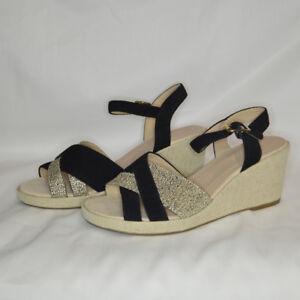 M\u0026S Black and Beige Wedge Sandals UK 6