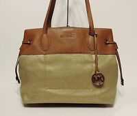 Michael Kors Lg Marina Drawstring Shoulder Bag Mk Gold Logo Canvas Satchel