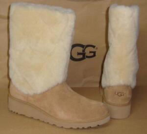 c6e68c2637c Details about UGG ARIELLA LUXE DIAMOND Chestnut Suede Fur Cuff Wedge Boots  Size US 5,EU 36 NIB
